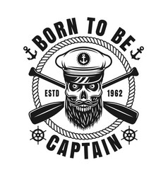 nautical emblem with bearded skull and text vector image
