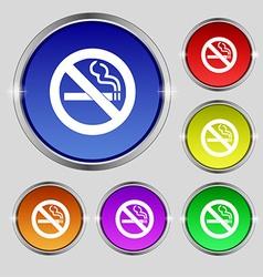 No smoking icon sign Round symbol on bright vector