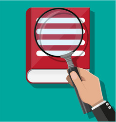 open book and hand with magnifying glass vector image