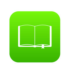 open book with bookmark icon digital green vector image