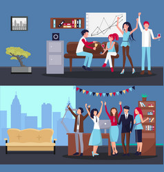 people partying at office on vector image