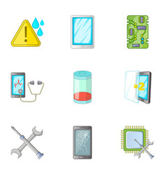Phone diagnostics icons set cartoon style vector