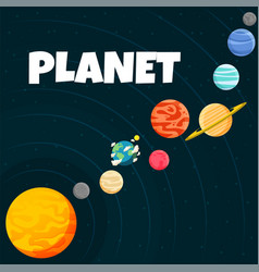 Planet orbiting design black background ima vector