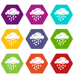 rain cloud icons set 9 vector image