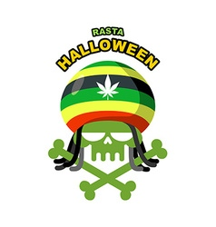 Rasta Halloween Night Skull addict with dreadlocks vector
