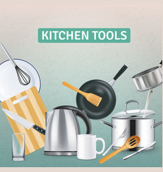 Realistic kitchen supplies background vector