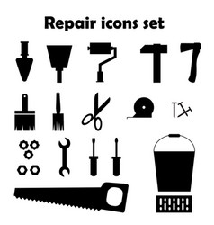 repair black icons set tools images vector image