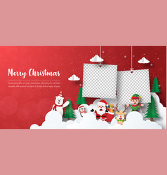 santa claus and friends with blank photo frame vector image