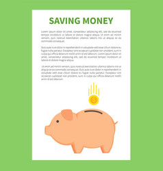 saving money in special pig money container logo vector image