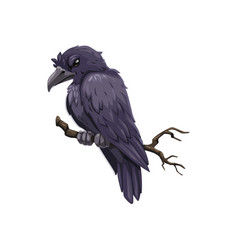 Scary crow on branch icon halloween bird vector