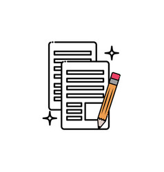 School documents with pencil fill style icon vector