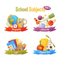 school subjects set include cartoon elements vector image