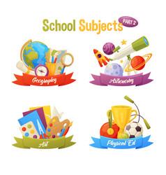 School subjects set include cartoon elements vector