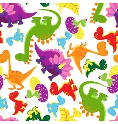 Seamless background pattern of baby dinosaurs vector