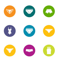 Sexy lingerie icons set flat style vector