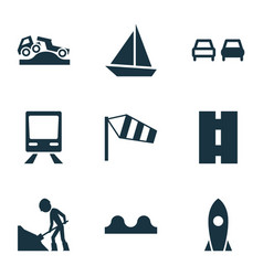 Shipment icons set with train road no overtaking vector