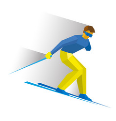 Sportsman with disabilities ski slope down vector