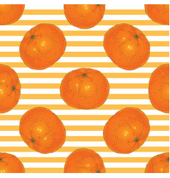 striped seamless pattern with tangerine slices vector image