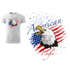 T-shirt design with bald eagle vector