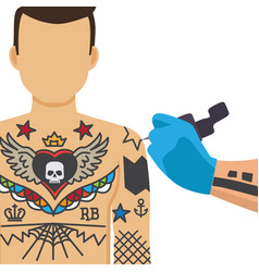 tattooing process vector image