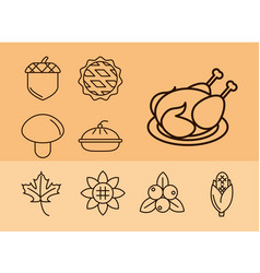 thanksgiving day collection icons hat pumpkin vector image