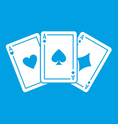 three aces playing cards icon white vector image