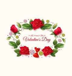 Valentine day rose peony tulip flower vector