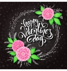 valentines day lettering with a frame vector image vector image