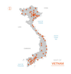 Vietnam map with administrative divisions vector