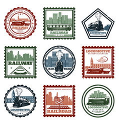 Vintage locomotive stickers and stamps set vector