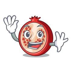 Waving slice of ripe pomegranate character cartoon vector
