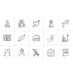 Wedding and family hand drawn sketch icon set vector