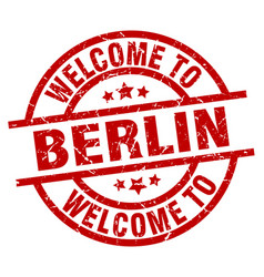 welcome to berlin red stamp vector image