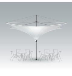 White blank inversed outdoor beach cafe umbrella vector