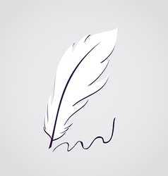 White feather calligraphic pen isolated vector image
