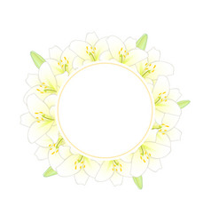 White lily banner wreath vector