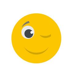 Winks smile icon flat vector