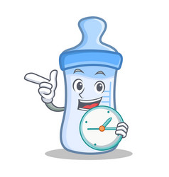 With clock baby bottle character cartoon vector