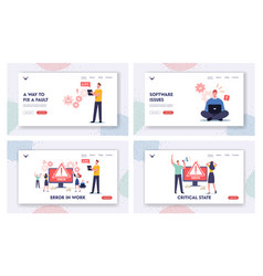 Work error landing page template set tiny male vector