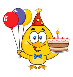 yellow chick holding balloons and a birthday cake vector image