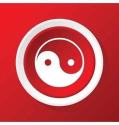 Ying yang icon on red vector