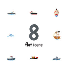flat icon boat set of tanker ship delivery and vector image vector image