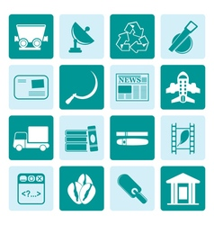One tone Business and industry icons vector image