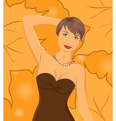 smiling girl on autumn background - vector image vector image