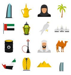 uae travel set flat icons vector image