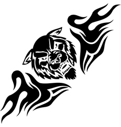 Wolf and symmetric tribals - vector image vector image