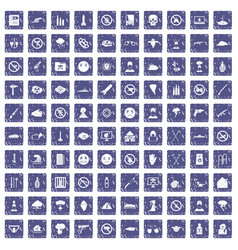 100 tension icons set grunge sapphire vector image