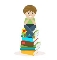 boy sitting on a big pile of books vector image vector image