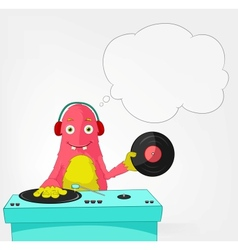 Funny Monster DJ vector image vector image