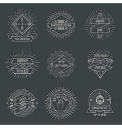 Handmade logo or crafts emblems vintage set vector image vector image